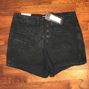 NWT Nasty Gal Lace Up Black Denim Shorts SZ 10/38